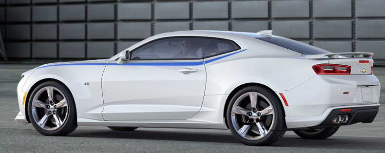 a summit white camaro ss with ground effects 20 bright silver 5 spoke wheels and a blue side spear stripe - Camaro 2016 Ss White